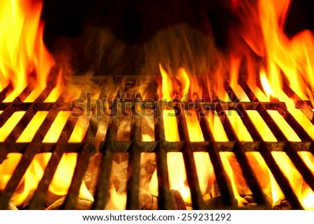 Empty Barbecue Clean Hot Flaming  Grill Close-up Background Isolated. You can see more barbeque party picnic fire flame outdoor image in my set. - stock photo