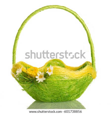 Empty Basket Decorated With Flowers Isolated On White Background