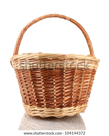 empty basket isolated on white - stock photo
