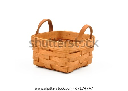 Empty basket on white - stock photo