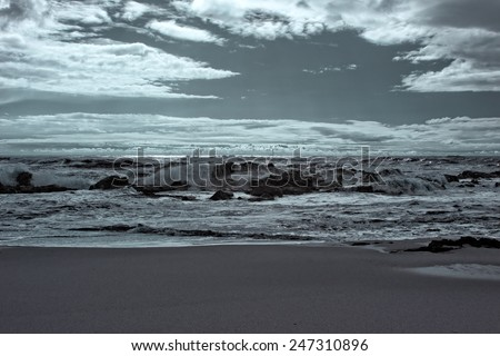 Empty beach from the north of Portugal. Infrared. - stock photo