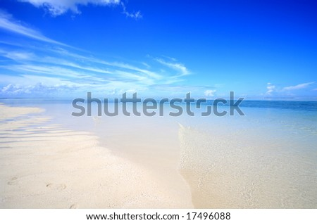 Empty beach in Maldives - stock photo