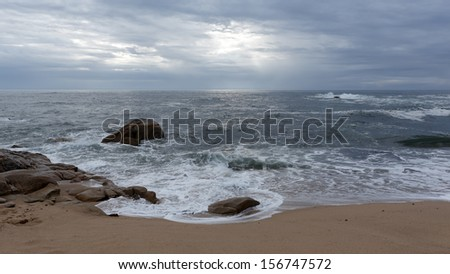 Empty beach in the north of Portugal; late summer; evening