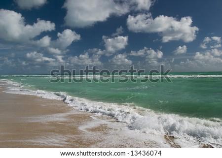 Empty beach, Miami, Florida, USA. - stock photo