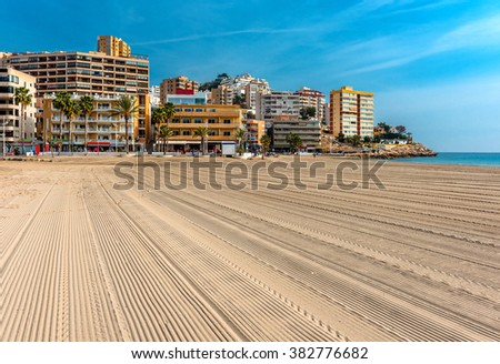 Empty beach of Finestrat in Benidorm. Alicante, Spain - stock photo