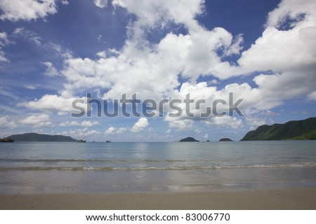 Empty Beach with Islands in Distance
