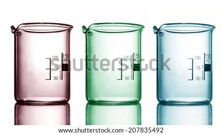 empty beaker with reflection, white background - stock photo