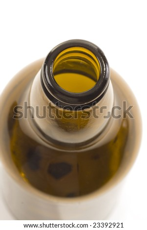 empty beer bottle on white background
