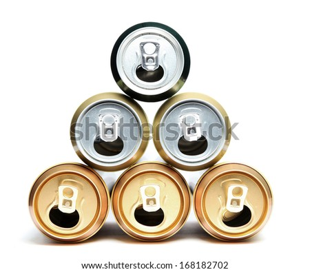 Empty beer cans - stock photo