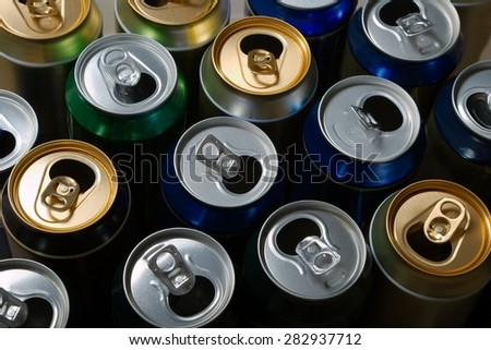 Empty beer cans after a party - stock photo