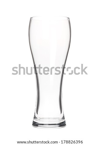 Empty beer glass isolated on white - stock photo