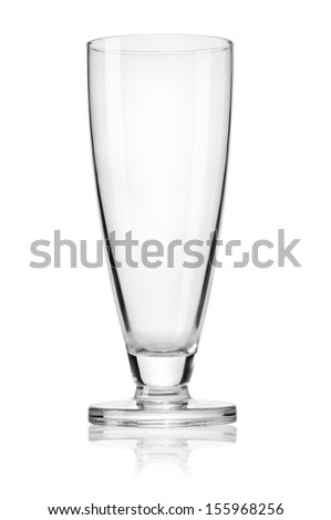 Empty beer glass isolated on white background. Clipping path
