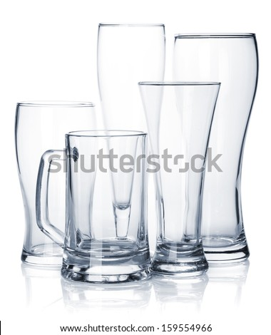 Empty beer glass set. Isolated on white background