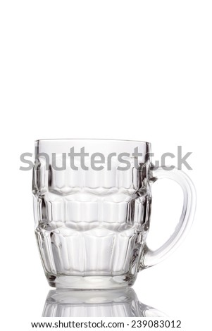 Empty beer mug isolated on white background. - stock photo