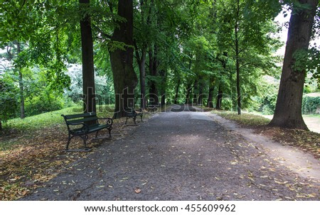 empty benches at the alley in the old park - stock photo