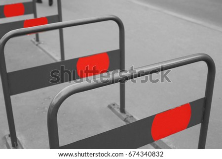 Empty bicycle racks in the city