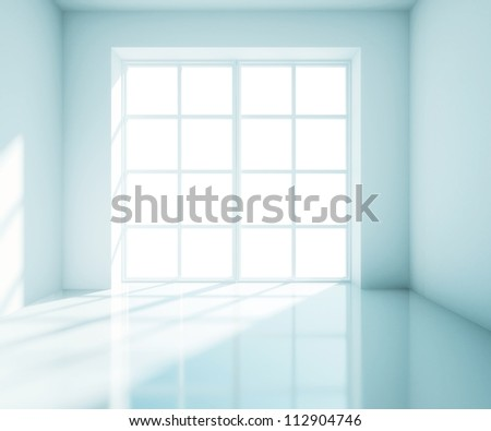 empty big blue room with white window - stock photo