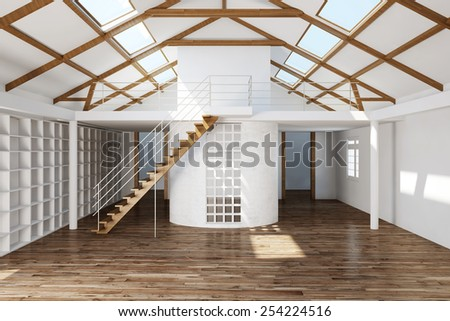 Empty big clean top floor room in a house (3D Rendering) - stock photo