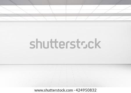 Empty big hall wall mockup, nobody, 3d rendering. Museum gallery with blank wall. White clear mock up lobby. Display artwork presentation. Art design empty floor. Expo studio wall in loft corridor. - stock photo