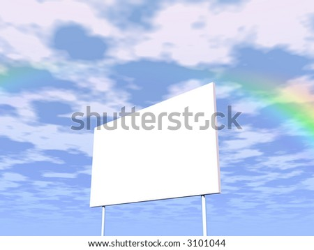 Empty billboard and sky in the background