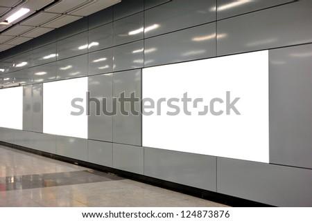 Empty billboard at indoor area - stock photo