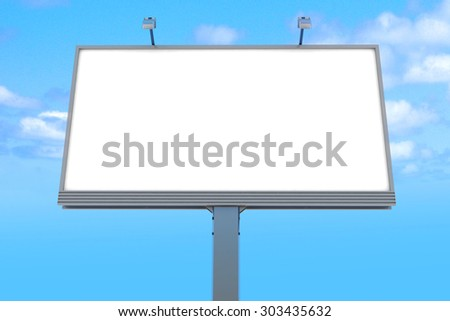 Empty billboard at sky background. 3d render illustration - stock photo