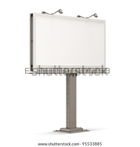 Empty Billboard Blank on white background - stock photo