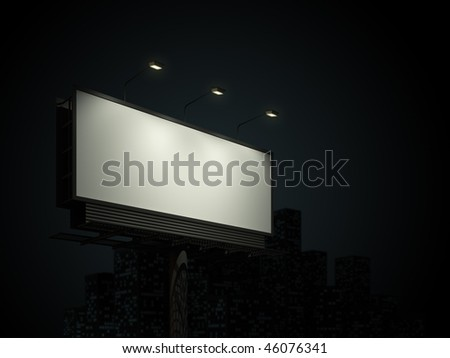Empty billboard in night  background - stock photo