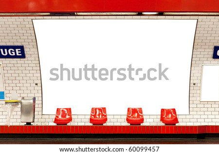 empty billboard in subway paris clipping path included - stock photo