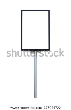 Empty billboard isolated on white background with clipping path - stock photo