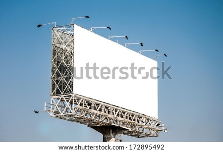 Empty billboard on blue sky for advertising. - stock photo