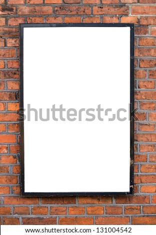 Empty billboard on brick wal - stock photo