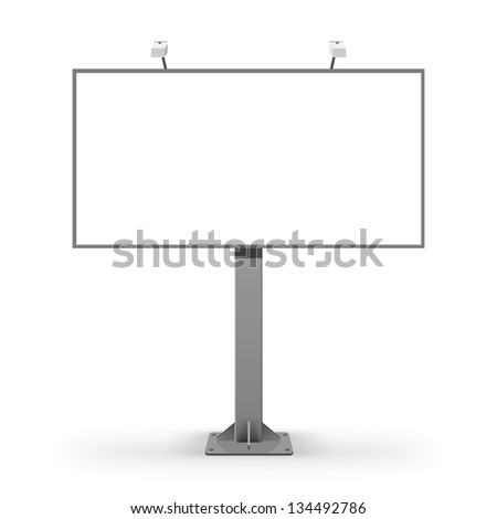Empty billboard with path - stock photo