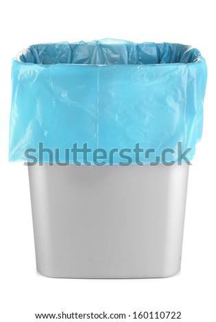 Empty bin isolated on white - stock photo