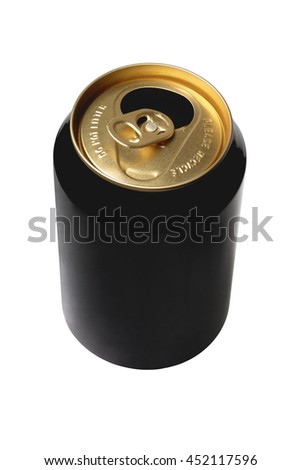 Empty Black Beer Can on white Background