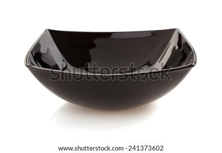empty black bowl isolated on white - stock photo
