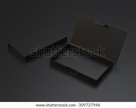 Empty black box for business cards on the black background - stock photo