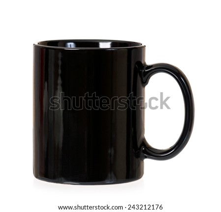 Empty black cup, isolated on white background - stock photo