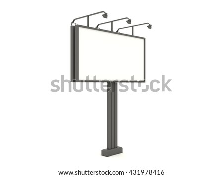 Empty black metal billboard mock up with blank for branding design and advertising. Advertising construction with lamps spotlights. Isolated on white background. High resolution 3d illustration. - stock photo