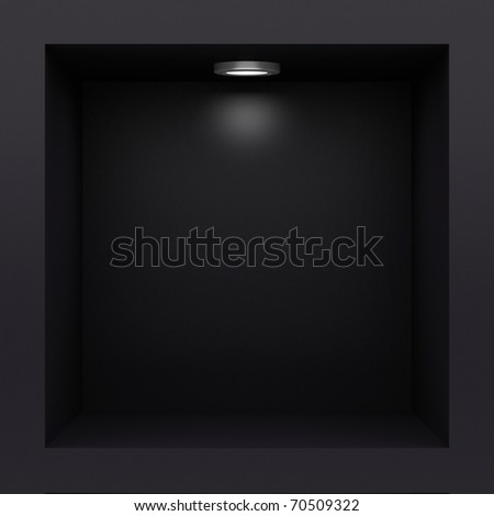 Empty black rack with illumination of shelves - stock photo