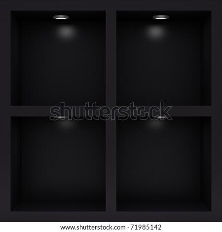 Empty black rack with illumination of shelves - stock photo