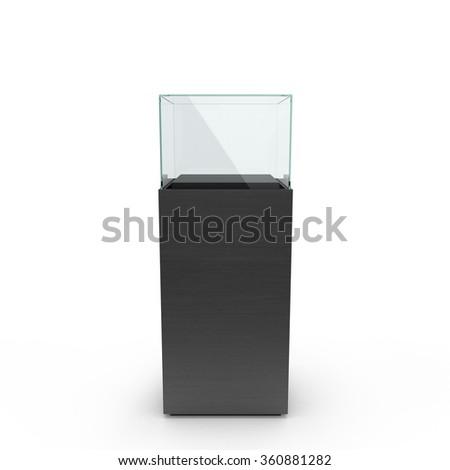 empty black showcase with pedestal. 3d illustration isolated on white background - stock photo