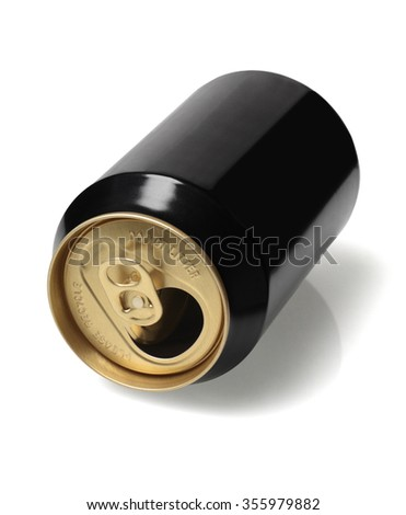 Empty Black Tin Can Lying on White Background - stock photo