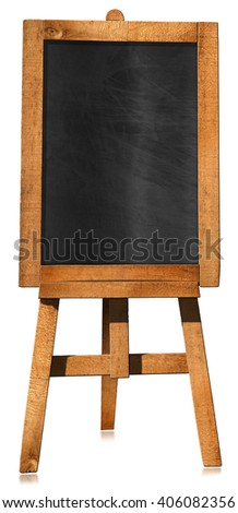 Empty Blackboard on a Easel / 3D illustration of an empty blackboard with wooden frame on a wooden tripod. Isolated on white background - stock photo