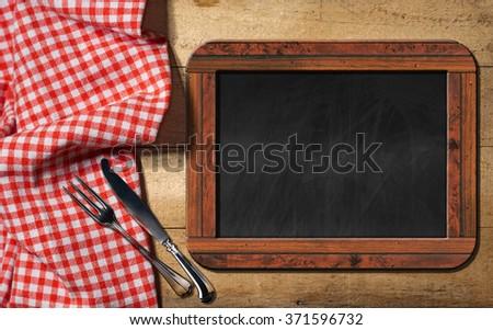 empty blackboard cutlery old empty blackboard stock photo royalty