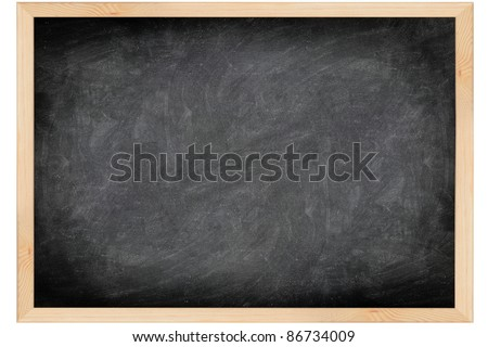 empty blackboard with wooden frame. Black chalkboard background with great texture and scratches isolated on white background.