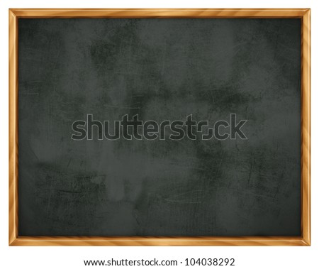 Empty blackboard with wooden frame - isolated on white background - stock photo