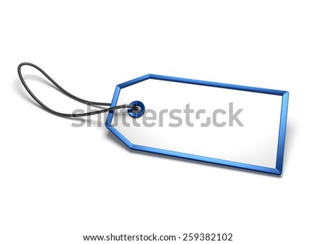 Empty blank badge with blue border and string attached, isolated on white - stock photo