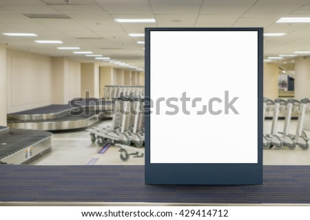 Empty blank billboard at airport ,train station? advertising public commercial,ready for new advertisement,selective focus - stock photo