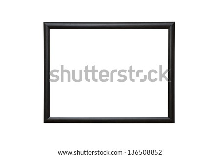Empty blank black isolated photo frame on white wall - stock photo